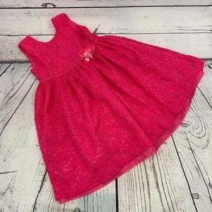 Blueberi Boulevard hot pink dress lace overlay